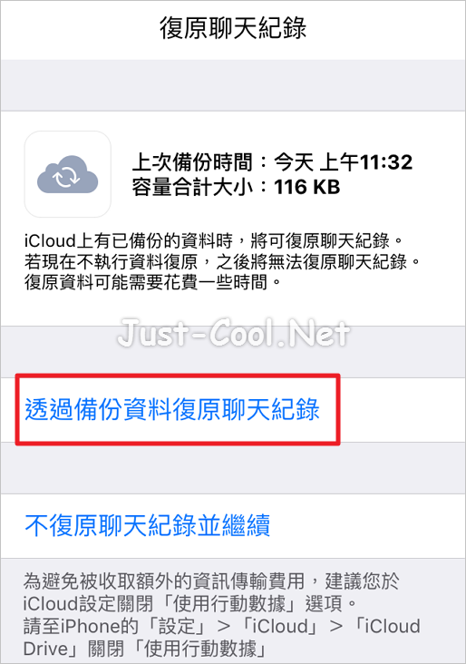 Line chat history backup on iCloud_13