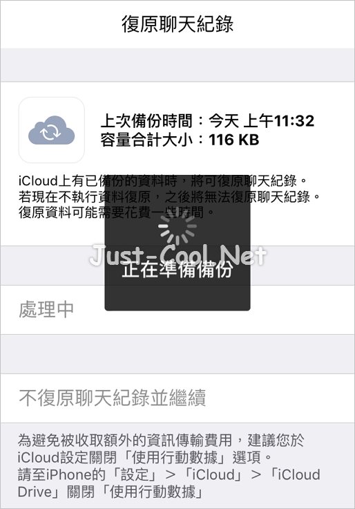 Line chat history backup on iCloud_14
