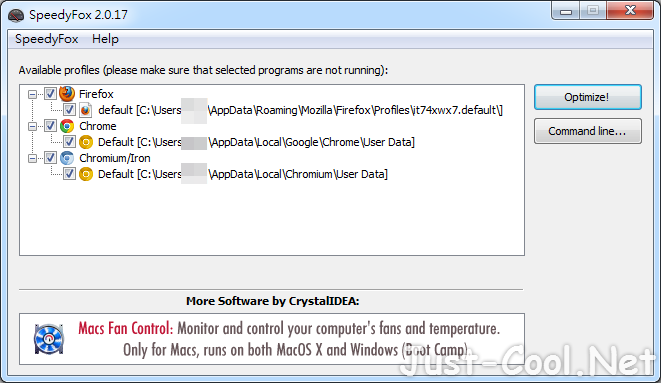 SpeedyFox 2.0.27 免安裝版 – 網路瀏覽器、Skype、Thunderbird 一鍵加速優化工具