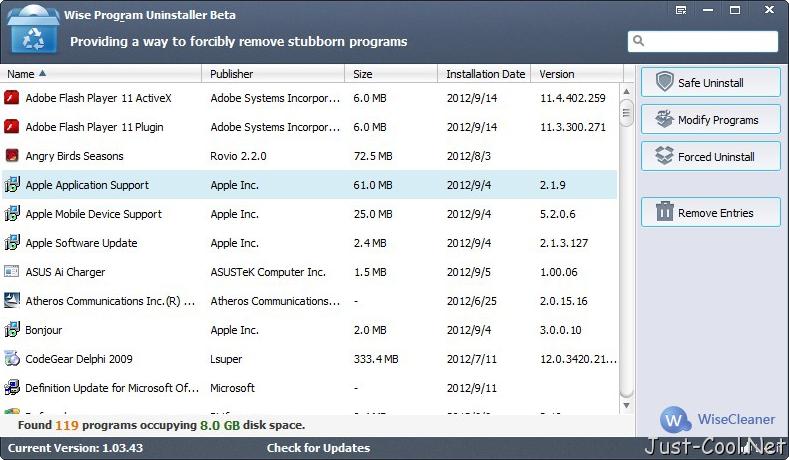 Wise Program Uninstaller 1.98.107 免安裝中文版 – 軟體程式強制移除工具