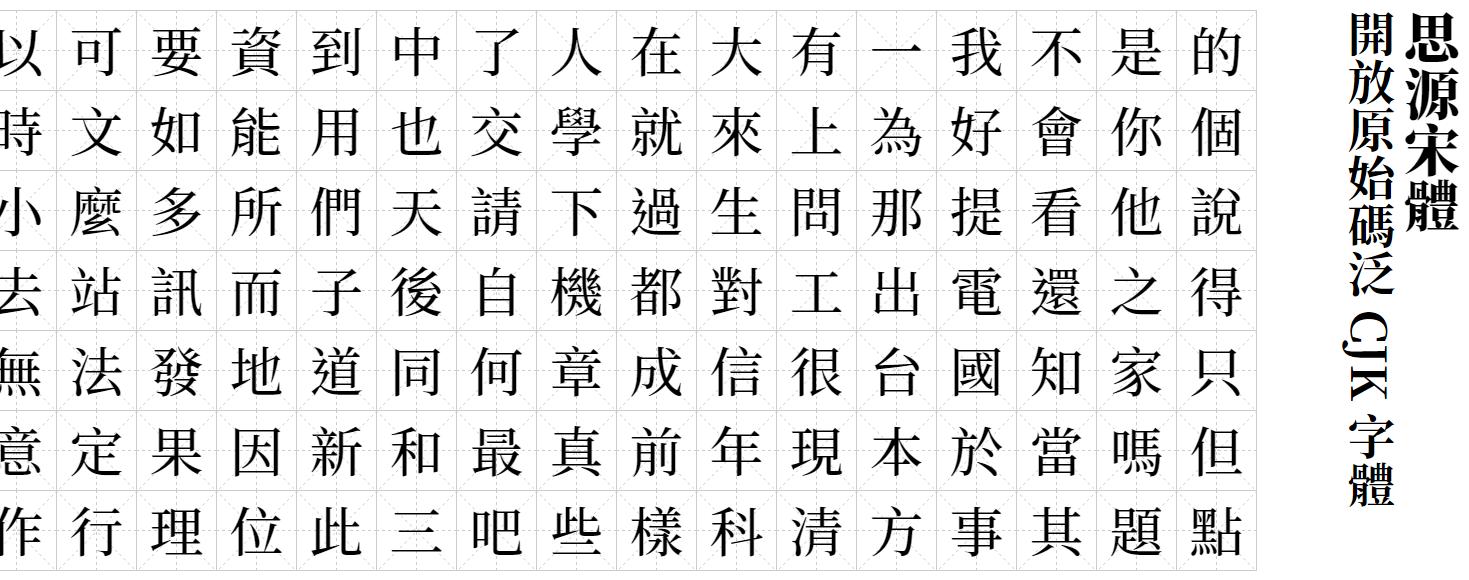 思源宋體 Noto Serif CJK TC – 免費開源字型下載